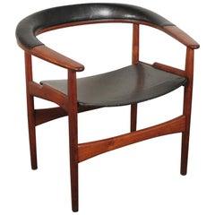 Arne Hovmand-Olsen for Jutex Teak and Leather Rounded Back Chair, 1957