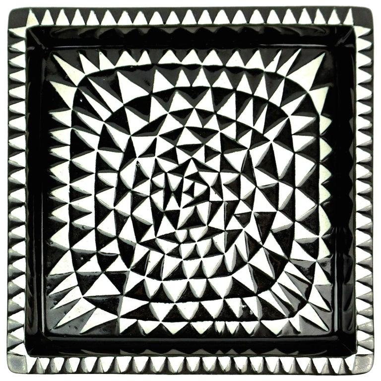 Stig Lindberg Domino Ceramic Tray by Gustavsberg in Sweden For Sale