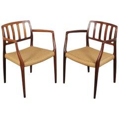 Pair of Rosewood Armchairs by N.O Møller Model 66