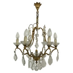 Mid-Century Modern Signed Gilt Bronze Chandelier by Petitot, France, circa 1940