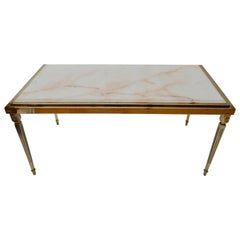 French 1970s  Brass Coffee Table with Marble Top