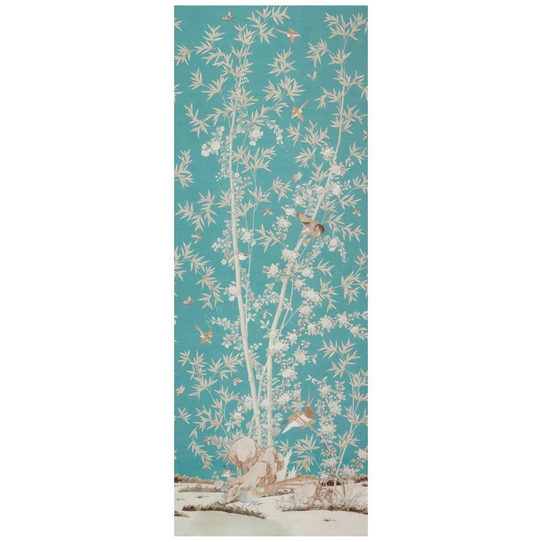 Schumacher Miles Redd Brighton Pavilion Chinoiserie Peacock Wallpaper Panel For Sale