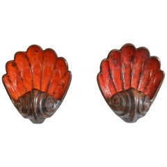 Pair of Midcentury Fat Lava Shell Sconces Wall Light Orange Red, Germany, 1960s