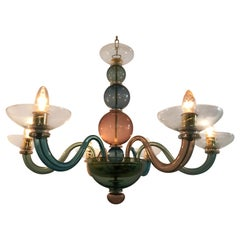 Handblown Murano Glass Chandelier in the Manner of Gio Ponti, Italy, circa 1975