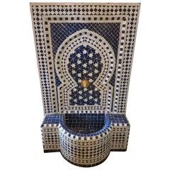 Blue and White Moroccan Mosaic Tile Fountain, Rafraf