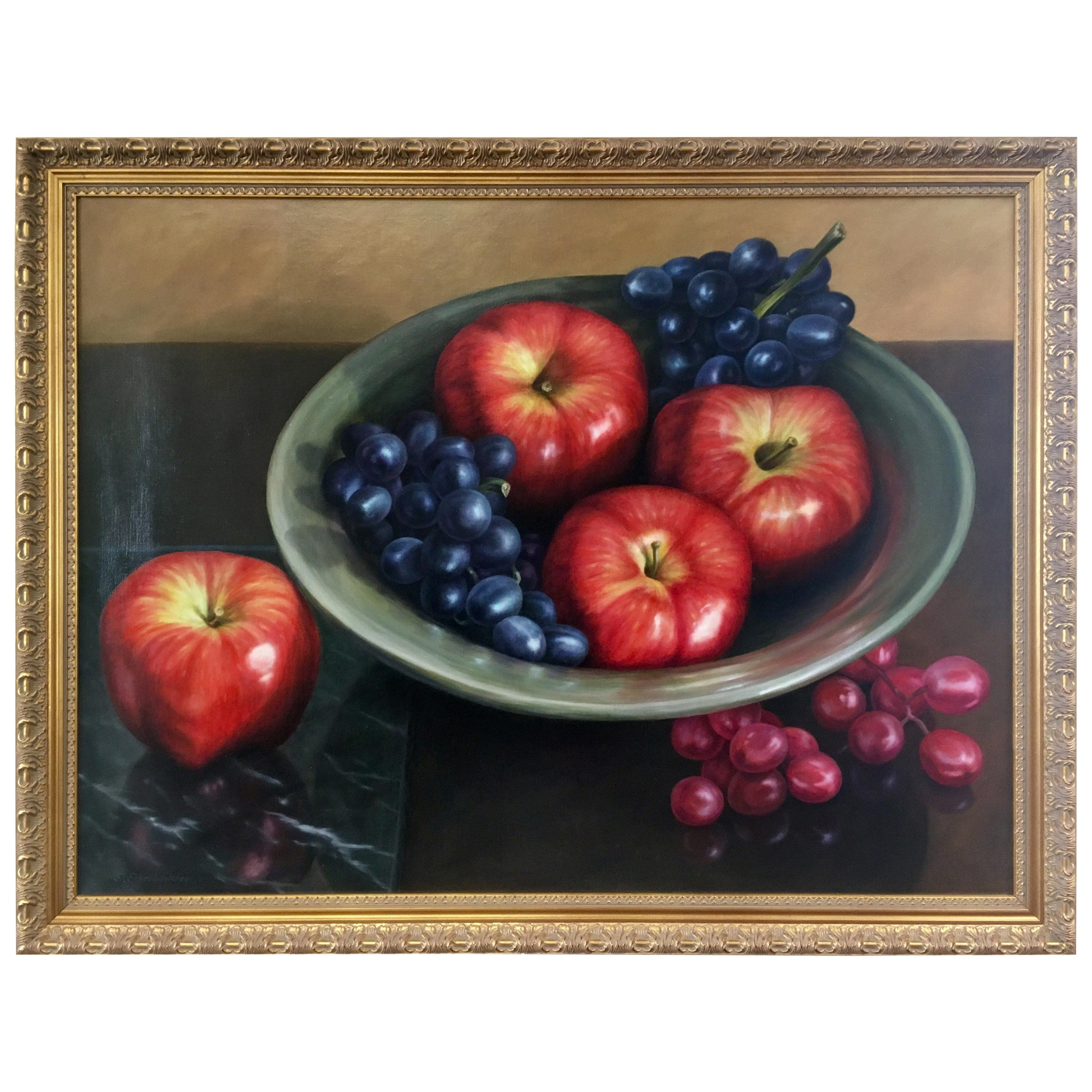 Original Oil on Canvas Signed Still Life Painting S. Schrohenlofer