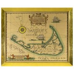 Large Vintage Map of Nantucket