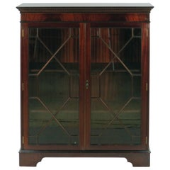 English Mahogany Short Two-Door Adjustable Bookcase Cabinet