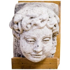Antique Early 18th Century Carved Limestone Corbel, Head