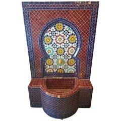 Moroccan Multi-Color Mosaic Tile Fountain, Red Base
