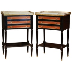 Pair of Vintage French Louis XVI Bedside Tables Nightstands with Marble Top