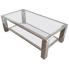 Modernist Chrome Coffee Table, French, circa 1970