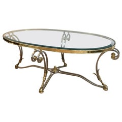 Beautiful Neoclassical Oval Brushed Steel and Brass Coffee Table, circa 1970