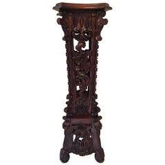Antique Carved Tall Mahogany Pedestal Plant Stand