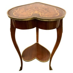 Louis XV Revival Marquetry Inlaid Heart Shaped Table with Bronze Ormolu