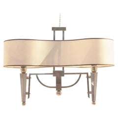 Midcentury Maison Jansen Flush Mount Bicolored Brass Ceiling Chandelier