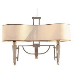 Midcentury Maison Jansen Flush Mount Bicolored Brass Ceiling Chandelier