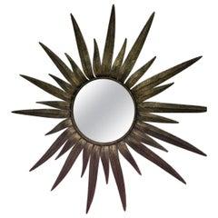 Italian Midcentury Gilt metal Sunburst Mirror, 1950s