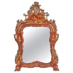 Italian Rococo Style Chinoiserie Wall Mirror