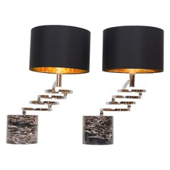 Pair of Chrome and Marble Table Lamps by Banci, circa 1970