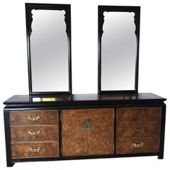 Century Furniture Company Asian Style Dresser and Two Mirrors Chinoiserie