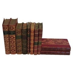 Collection of 10 Antique Red Leather Books