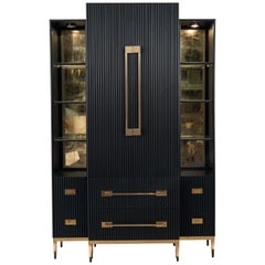 Contemporary Black Satin Cabinet