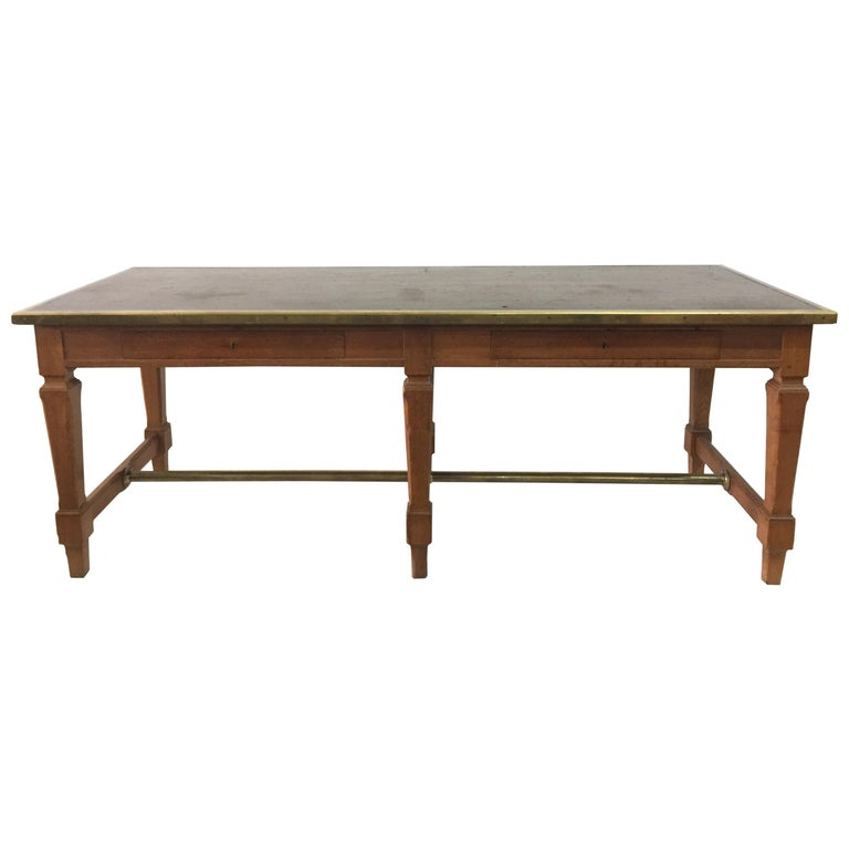Leather Top and Brass Oak Library Table For Sale