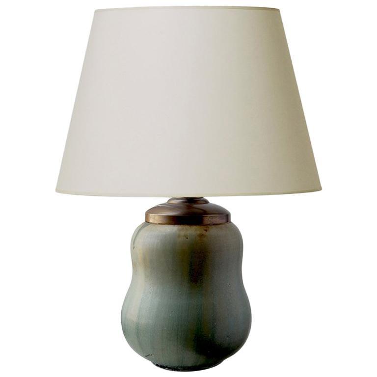 Rare Double Gourd Table Lamp with Layered Green Glazes by Arne Bang For Sale