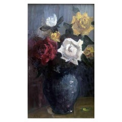 Arturo Tosi 20th Century Italian Roses Still Life Painting Signed and Dated