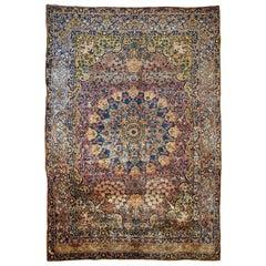 Handmade Antique Persian Yazd Rug, 1880s