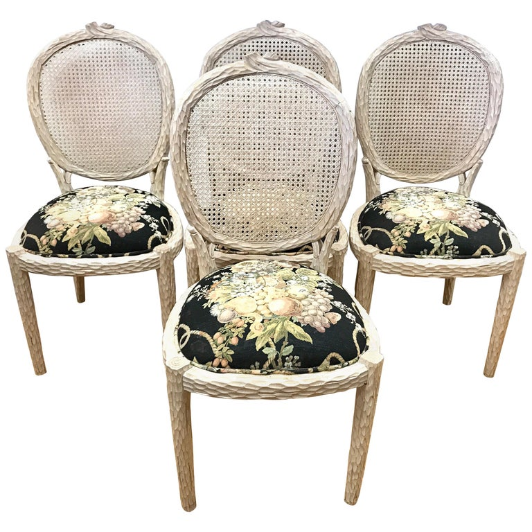 Carved Faux Bois Branch Chairs Caneback Cane Back For