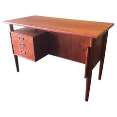 Danish Modern Three-Drawer Floating Top Teak Desk