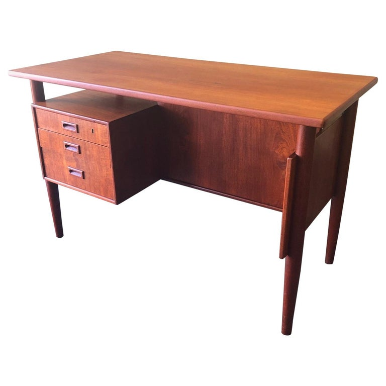 Danish Modern Three-Drawer Floating Top Teak Desk For Sale