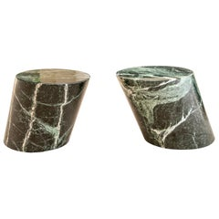 Pair of Modern Green Marble Cylinder End Tables
