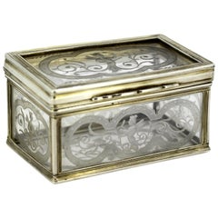 Antique Crystal Glass and Silver Snuff / Pill Box, France, 17th Century