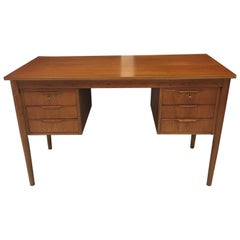 Danish Midcentury Teak Writing Desk with Six Drawers, circa 1960s