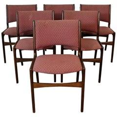 Set of 6 Midcentury Danish Modern Henning Kjaernulf Teak Side Dining Chairs