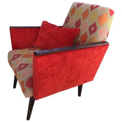 Mid-Century Modern Lounge Armchair in Orange, 1970s