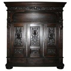 Large Antique German Historicism Oak Cupboard, circa 1880