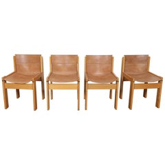 Set of 4 1970s Tobia Scarpa Dining Chairs with Original Leather Sling Seat-Back