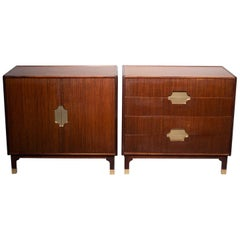 Pair of Midcentury Walnut Chests with Brass Hardware