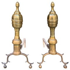 Pair of Brass Andirons, circa 1820