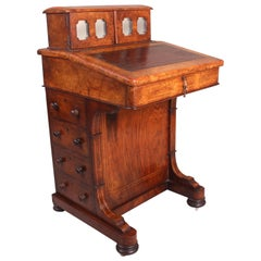Victorian Burr Walnut and Inlaid Davenport, circa 1870