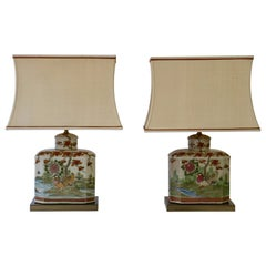 Pair of Satsuma Japanese Lamp Vases with Brass Base