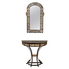 Art Deco Oscar Bach Mirror Marble Wrought Iron Console Table, 1920s, German