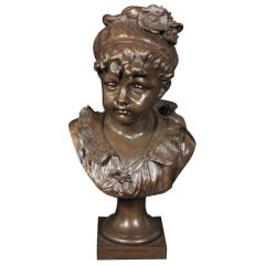 19th Century French Bust of Young Girl
