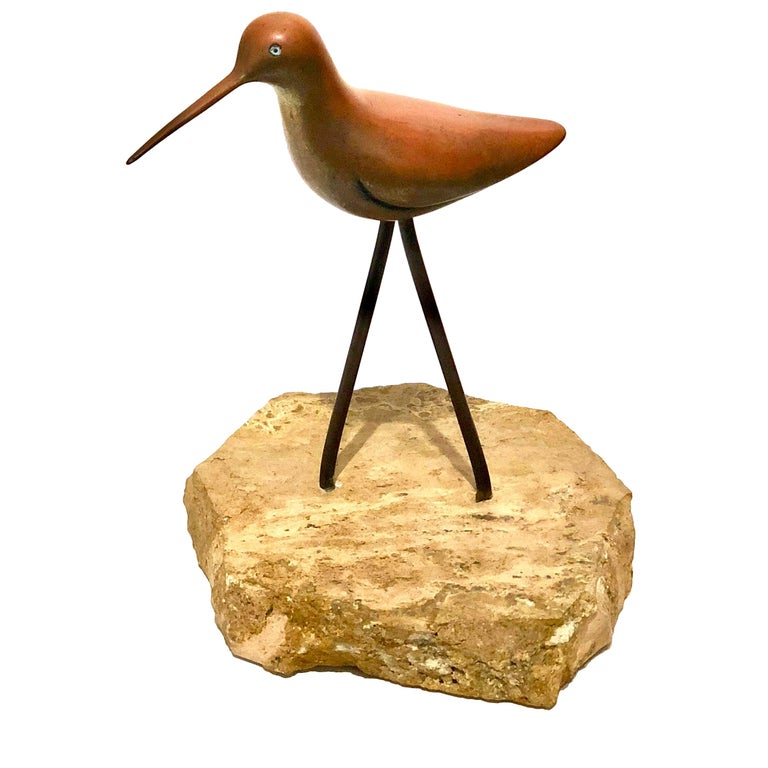 Petite Solid Patinated Brass Bird Sculpture on Marble Base For Sale