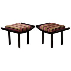 Pair of Art Deco Black and Velvet French Benches, 1930