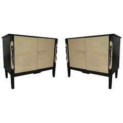 Pair of 1940 Black France Art Deco Sideboards